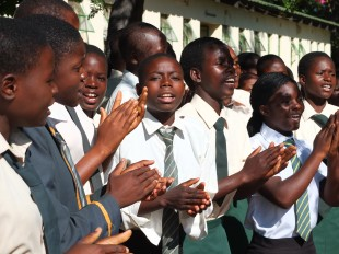 'Happy clappy' reception from girls at Mt Darwin who are on the CAMFED programme. Picture: Paul Turner/DFID