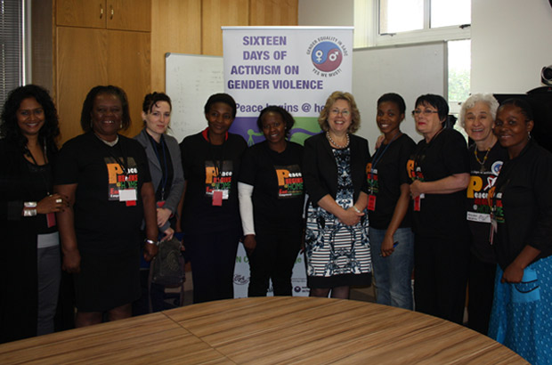 Baroness Northover meets a group of campaigners from Genderlinks. Picture: Julia Smith/DFID