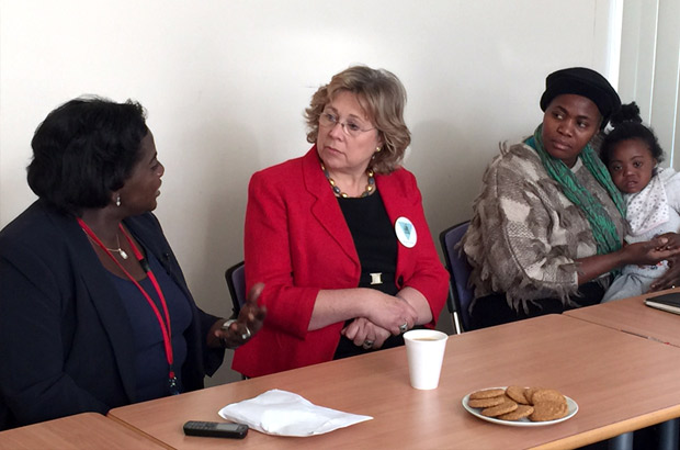 Baroness Northover meets Comfort Momoh and a FGM survivor. Picture: Julia Smith/DFID