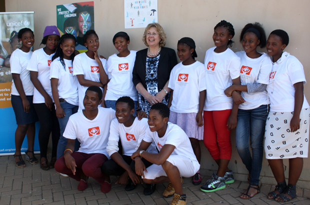 Baroness Northover with the youth behind the Powerful Young Leaders radio show. Picture: Julia Smith/DFID