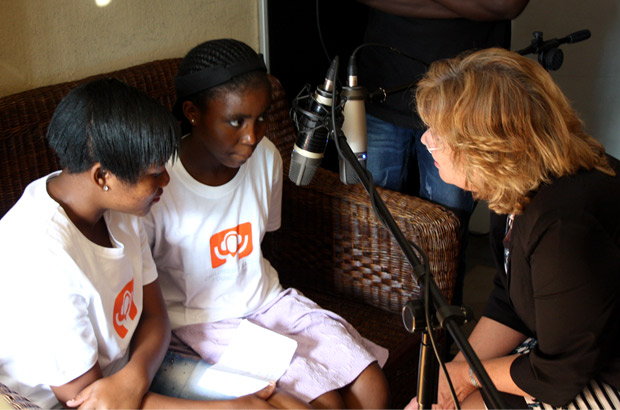 The minister being questioned on air by the youth radio presenters. Picture: Julia Smith/DFID