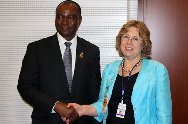 Baroness Northover meets the Foreign Minister of Sierra Leone to discuss the Ebola crisis. Picture: Vicky Seymour/DFID