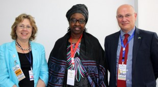 The Baroness with the AU Special Envoy for Women, Peace and Security, Madame Bineta Diop and the British Ambassador to Ethiopia, Greg Dorey. Picture: Vicky Seymour/DFID