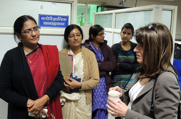 Lynne Featherstone visits India's first and only one-stop crisis centre for women. Picture: Anshuman Atroley/DFID India