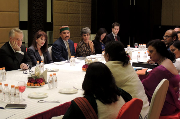 Lynne Featherstone meets prominent civil society representatives and local government leaders who work on tackling VAWG issues. Picture: Anshuman Atroley/DFID India