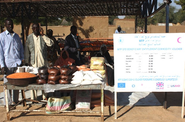 The voucher programmme run by WFP, where internally displaced people can exchange vouchers for staple food. Picture: Vicky Seymour/DFID