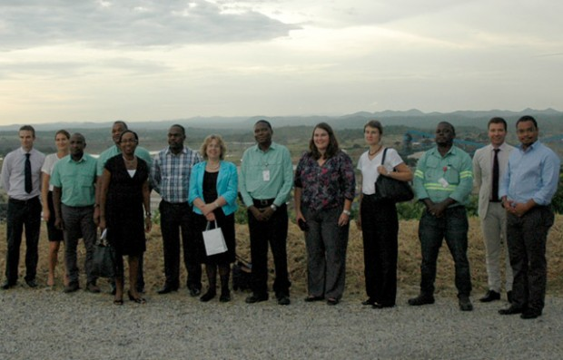 Baroness Northover, DFID Mozambique staff,   Jo Kuenssberg British High Commissioner to Mozambique and staff at vale overlooking the Moatize Mine at sunset. Picture:Sophie Newman/DFID