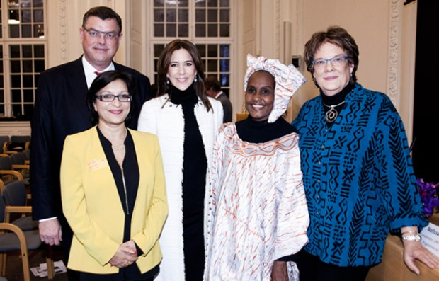Danish Minister Mogens Jensen, Julia, Crown Princess Mary of Denmark, Mah Cissé and Molly Melching in Copenhagen, November 2014. Picture: Orchid Project