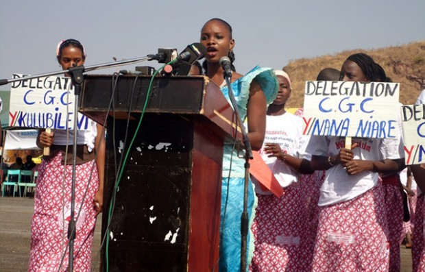 A declaration being read at the abandonment ceremony in Mali last year. Picture: Orchid Project