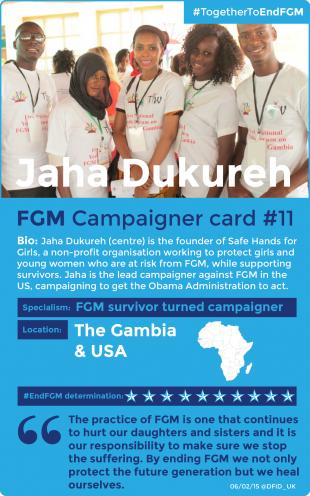 End FGM campaigner Jaha (centre).