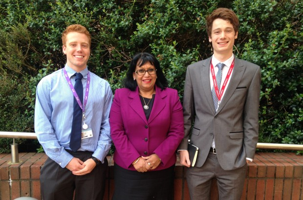 Baroness meets Tom and Peter from the Leonard Cheshire's Change 100 internship programme.