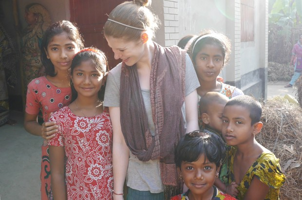 Vix with some of her new friends in Bangladesh